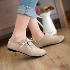 Womens Comfortable Suede Lace Up Flat Heels Solid Loafers Casual Shoes For Lady