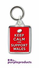 WALES WELSH RUGBY KEEP CALM 6 SIX NATIONS HOME SUPPORTERS FUN KEYRINGS