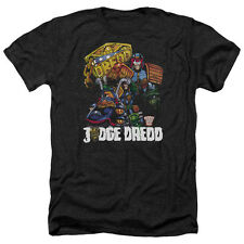 Judge Dredd Bike And Badge Mens Heather Shirt Black