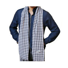 Men Tasseled Fringe Tartan Plaids Pattern Wrap Shawl Scarf