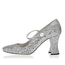 MIU MIU New Woman Pumps Shoes Glitter Decollettes Leather Made in Italy NWT