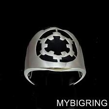 STERLING SILVER MENS RING STAR WARS IMPERIAL COAT OF ARMS DEATH BLACK ANY SIZE