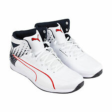 Puma Bmw Ms Evospeed Mid Mens White Red Leather High Top Lace Up Sneakers Shoes