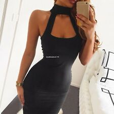 Fashion Sexy Lady Women Halter Off Shoulder Bodycon Mini Party Club Dress Black