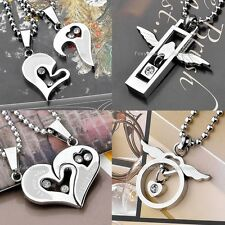 Couple Men Women Crystal Stainless Steel Necklace Heart Wing Pendant Lover Gifts
