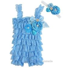 Baby Pearl Crystal Flower Cornflower Blue Lace Petti Rompers Headband 2pcs Set
