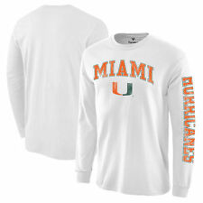 Miami Hurricanes White Distressed Arch Over Logo Long Sleeve Hit T-Shirt