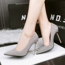 Fashion Shallow Out Pointed Toe Solid Suede High Heel Womens Profession OL Shoes