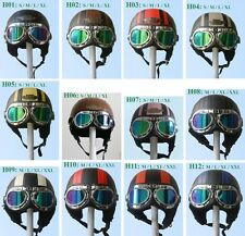 TOP New Leather Half Face Motorcycle Vespa Scooter Helmet Goggles/Visor S M L XL