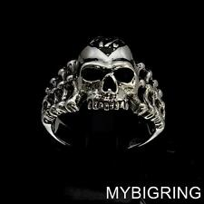 STERLING SILVER MENS OUTLAW BIKER BAND RING SKULL AND BONES JOLLY 1% ER ANY SIZE