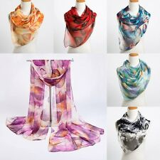 Women Ladies Long Silk Scarf Scarves Leaves Printing Shoulder Warp Shawl