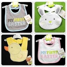 new/NWT~CARTERS~SPRING FIRST EASTER BIBS~BABY GIRLS+BOYS~YELLOW DUCK WHITE BUNNY
