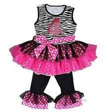 Glitter 4th Black Hot Pink Zebra Ruffled Top Pants Set Birthday Outfit