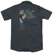 Popeye Break Out Spinach (Back Print) Mens Work Shirt CHARCOAL