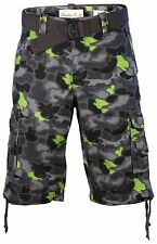 Smoke Rise Men's Camo Twill Belted Cargo Shorts-Gray/Lime