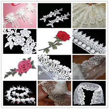 Flower Embroidered Lace Trim Venice Fabric Sewing Crafts Dress Applique DIY
