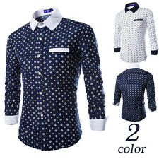 Luxury Mens Casual Shirt Stylish Slim Fit Long Sleeve Casual Dress Shirts Top gf