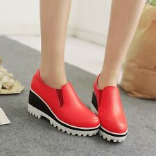 Womens Synthetic Leather High Heels Wedges & Platforms Slip-on Casual Lady Shoes