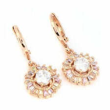 Womens Jewelry Gold Plated Cubic Zirconia CZ Flower Dangle Earrings Fashion