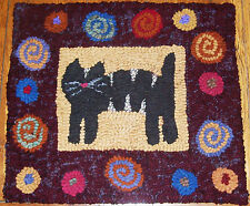 Cat with Antique Posies border Primitive Rug Hooking KIT or PATTERN