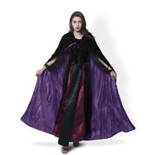 New Velvet Hooded Cloak Black Medieval Halloween Wedding Wicca LARP Cape S-XXL