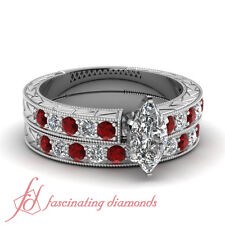 1.50 Ct Marquise Cut Diamond & Round Red Ruby Wedding Rings Pave Set 14K Gold