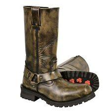 """MENS 11"""" MOTORCYCLE BIKER DISTRESSED BROWN HARNESS SQUARE TOE BOOTS SHOES - SACC"""