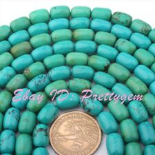 "Natural Turquoise Column Gemstone Beads Strand 15"" 8x12mm For Jewelry Making"