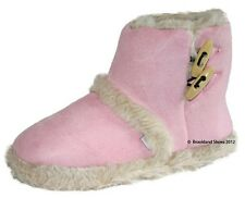 Ladies Girls Coolers Furry Toggle Ankle Boot Bootee Slippers Pink Medium 5/6