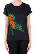 STELLA MC CARTNEY Woman New T-shrit Tiger Embroidery Cotton Blue Authentic
