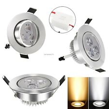 Dimmable 3LED 9W Ceiling Recessed Down light Fixture Lamp Light & Lamp Driver B2
