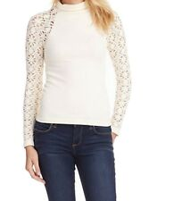 Free People NEW White Ivory Women's Size Small XS/S Crochet Knit Top $48 #696