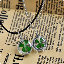 Fashion Real Green Lucky Shamrock Four Leaf Clover Pendant Necklace Friends Gift
