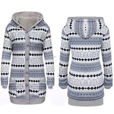 Women Casual Thick Warm Cotton Lining Long Sleeve Hooded Cardigan Sweater B20E