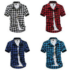 Hot Mens Casual Dress Shirt Mens Fashion Classic Plaid Short Sleeve Shirts Top