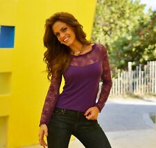 New sexy purple long  sleeve lace evening clubbing shirt top blouse medium