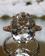 Natural White Topaz 14k Rose Gold Edwardian Filigree Ring Size: {Made To Order}