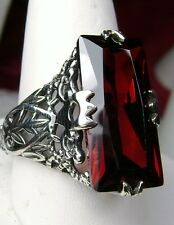 7ct *Red Garnet* Sterling Silver Victorian Filigree Ring Size: {Made To Order}