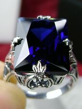 10ct*Sapphire* Sterling Silver 1930s Art Deco Filigree Ring Size {Made To Order}
