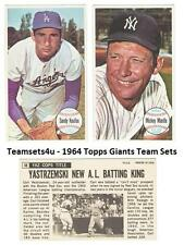 1964 Topps Giants EX Condition Baseball Set ** Pick Your Team **