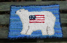PATRIOTIC POLAR BEAR Primitive Rug Hooking KIT WITH #8 CUT WOOL STRIPS
