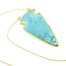 Turquoise Arrowhead Necklace - Gold plated Sterling Silver Necklace