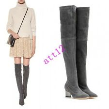 Womens Mid Heel Chunky Slouch Pointed Toe Ladies Suede Shoe Over Knee High Boot