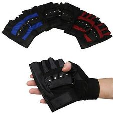 Men's Soft Leather Driving Motorcycle Biker Fingerless PU Gloves Multi Function
