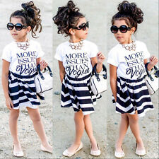 Children Baby Girls T-shirt Tops Striped Skirts Outfits Set Party Dress 2-7Y