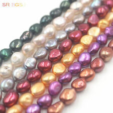 Natural 8x10mm Freeform Freshwater Pearl Beads Jewelry Making Spacer Strand 15""