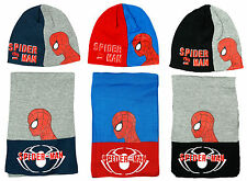 Boys Marvel Spiderman Knit Winter Beanie Hat Scarf Set 3-12 Yrs CLEARANCE SALE
