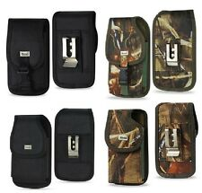 Durable Vertical Holster Pouch w/Metal Belt Clip For Smartphones Black / Camo