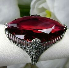 12ct *Marquise Ruby* Victorian Floral Filigree Sterling Silver Ring Size Any/MTO
