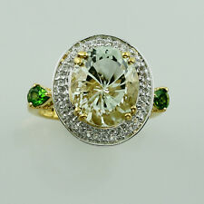 Green Amethyst,Topaz,Chrome Diopside in 925 Sterling Silver Fancy Ring GSR1165